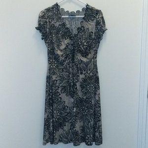 Short Sleeve, Black/Tan Polyester Dress